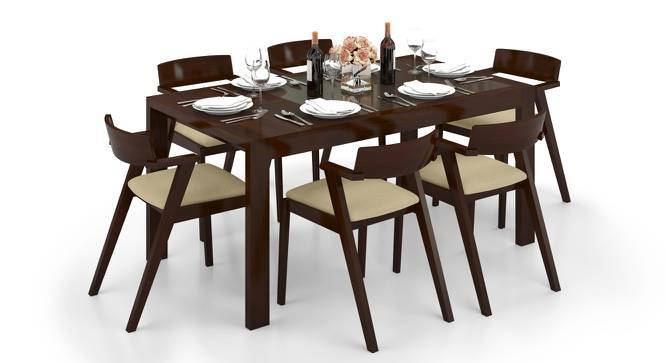 Vanalen 4 to 6 Extendable - Thomson 6 Seater Glass Top Dining Table Set (Beige, Dark Walnut Finish) by Urban Ladder