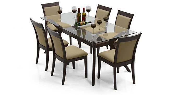 Wesley - Dalla 6 Seater Dining Table Set (Beige, Dark Walnut Finish) by Urban Ladder