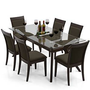 Wesley Dalla 6 Seater Dining Table Set Grey Dark Walnut Finish By