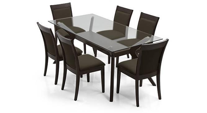Wesley - Dalla 6 Seater Dining Table Set (Grey, Dark Walnut Finish) by Urban Ladder