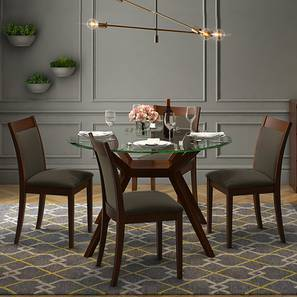 Wesley - Dalla 4 Seater Round Glass Top Dining Table Set (Grey, Dark Walnut Finish) by Urban Ladder