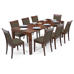 Arco - Dalla 8 Seater Dining Table Set (Grey, Dark Walnut Finish) by Urban Ladder