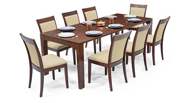 Arco - Dalla 8 Seater Dining Table Set (Beige, Dark Walnut Finish) by Urban Ladder