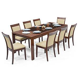 Vanalen 6-to-8 Extendable - Dalla 8 Seater Glass Top Dining Table Set (Beige, Dark Walnut Finish) by Urban Ladder