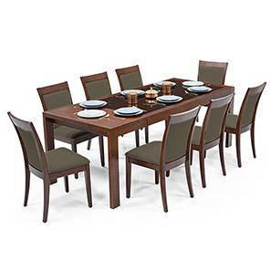 Vanalen 6-to-8 Extendable - Dalla 8 Seater Glass Top Dining Table Set (Grey, Dark Walnut Finish) by Urban Ladder