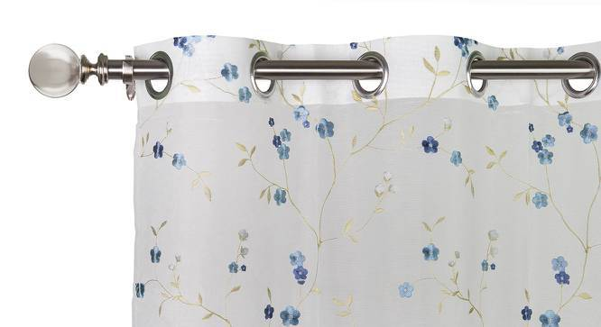 """Tivoli Embroidered Sheer Curtain - Set Of 2 (Blue, 52""""x104"""" Curtain Size) by Urban Ladder"""