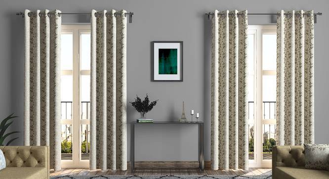 "Moringa Embroidered Curtains - Set Of 2 (Beige, Door Curtain Type, 52""x104"" Curtain Size) by Urban Ladder"