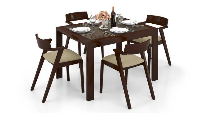 Vanalen 4 to 6 Extendable - Thomson 4 Seater Glass Top Dining Table Set (Beige, Dark Walnut Finish) by Urban Ladder