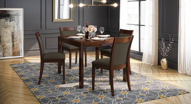 Vanalen 4 to 6 Extendable - Dalla 4 Seater Glass Top Dining Table Set (Grey, Dark Walnut Finish) by Urban Ladder