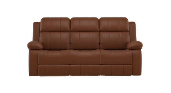Robert Three Seater Recliner Sofa (Tan Leatherette) by Urban Ladder