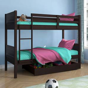 Lisbon Bunk Bed (Dark Walnut Finish, With Storage) by Urban Ladder