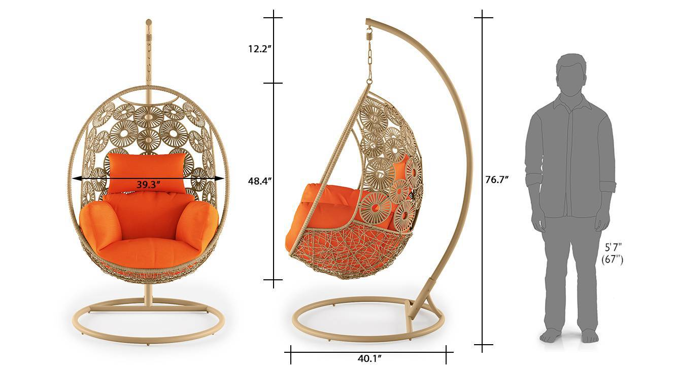 Kyodo swing chair with stand orange 9
