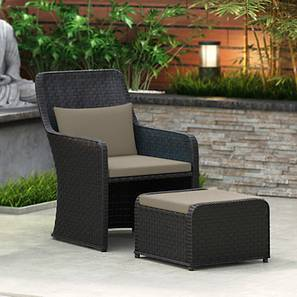 Bentham Patio Chair and Footstool (Grey) by Urban Ladder