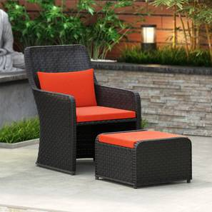 Bentham Patio Chair and Footstool (Rust) by Urban Ladder