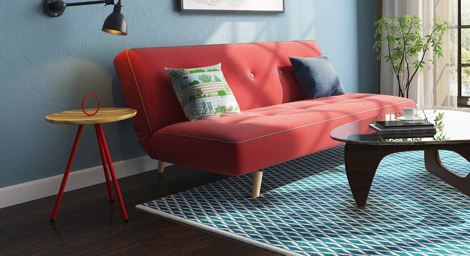 Yangwu Side Table (Red, Natural Finish) by Urban Ladder