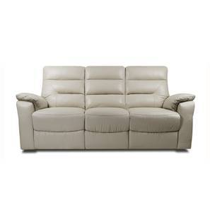 Calvin Motorized 3 Seater Leather Recliner (Cream Italian Leather) by Urban Ladder