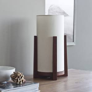 Bel Table Lamp (Walnut Base Finish, Cotton Shade Colour) by Urban Ladder