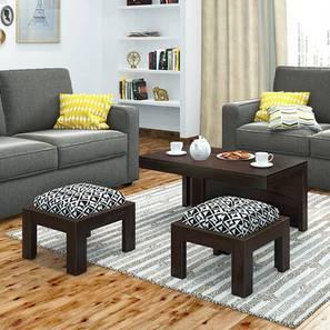 Kivaha 2-Seater Coffee Table Set (Ebony Finish, Black and White) by Urban Ladder