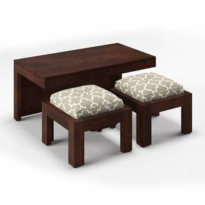 Kivaha 2-Seater Coffee Table Set (Walnut Finish, Morocco Lattice Beige) by Urban Ladder