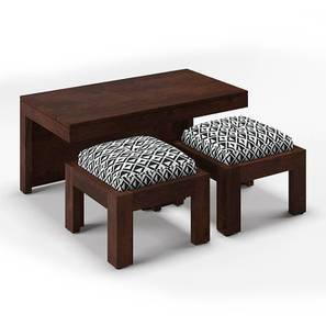 Kivaha 2 Seater Coffee Table Set Walnut Finish Black And White By