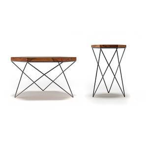 Dyson Hex Coffee Side Tables Set Teak Finish Black By Urban Ladder