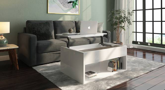 Alita Laptop Coffee Table (White High Gloss Finish) by Urban Ladder