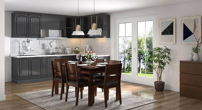 Diner - Cabalo (Leatherette) 6 Seater Dining Table Set (Black, Dark Walnut Finish) by Urban Ladder