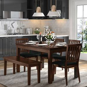 Diner 6 Seater Dining Table Set (With Bench) (Dark Walnut Finish) by Urban Ladder