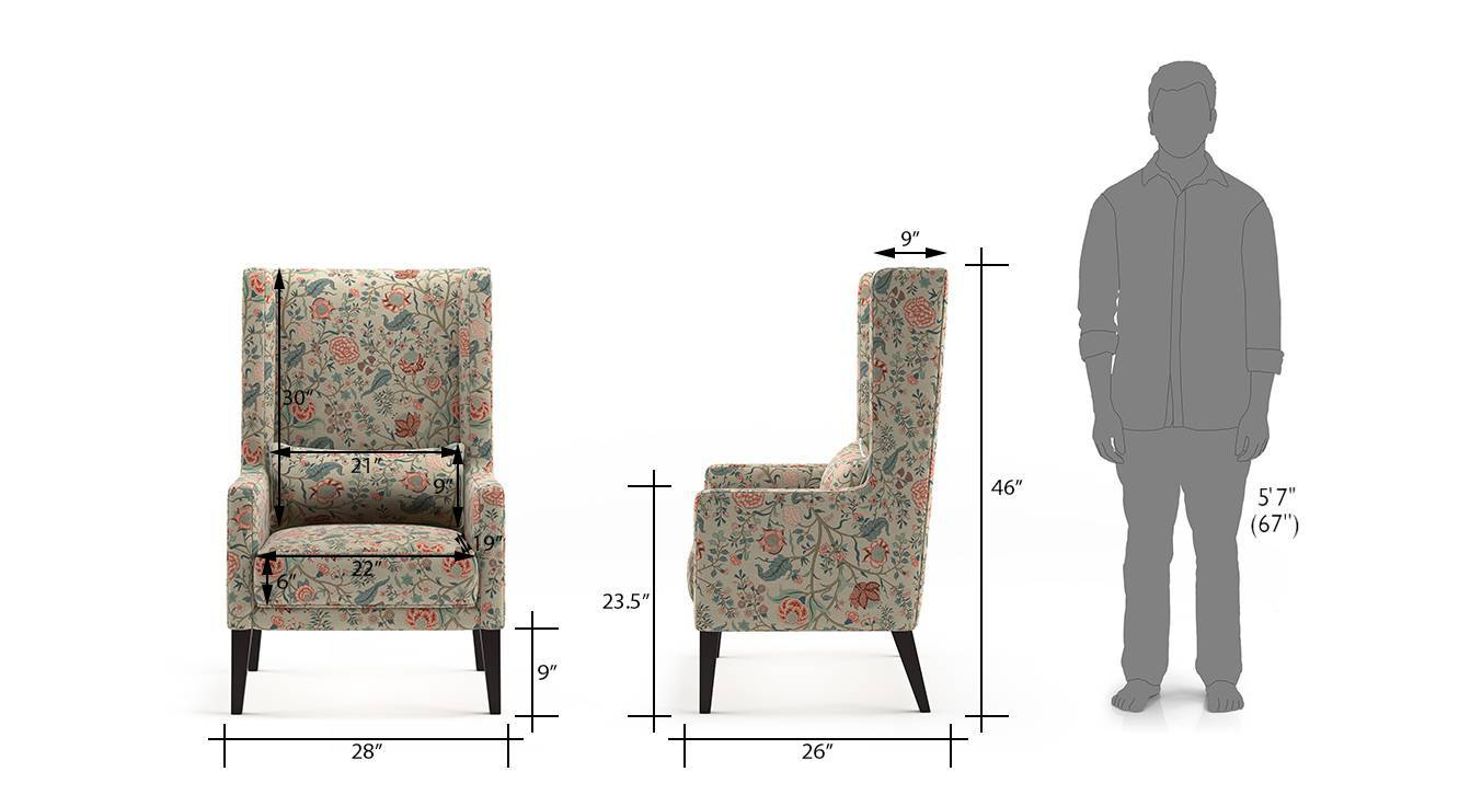 Morgen wing chair calico print 22