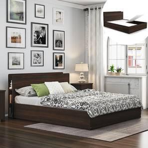 Cavinti Storage Bed With Headboard Shelves (Queen Bed Size, Dark Walnut Finish, Box Storage Type) by Urban Ladder