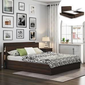 Cavinti Storage Bed With Headboard Shelves (Queen Bed Size, Dark Walnut Finish, Drawer & Box Storage Type) by Urban Ladder