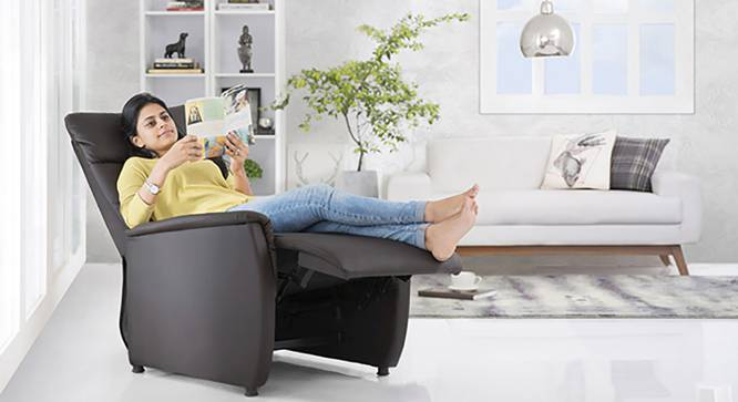 Bertie Compact Recliner (Chocolate Brown Leatherette, Yes) by Urban Ladder