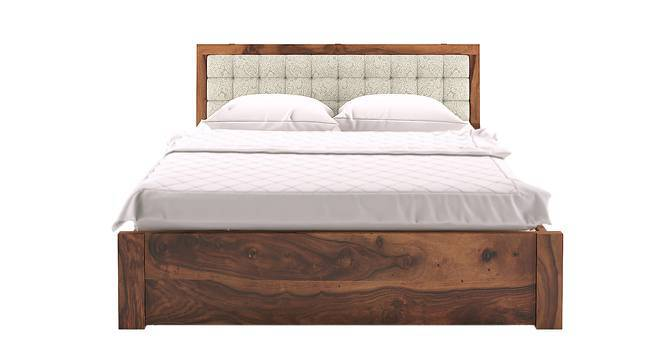 Florence Storage Bed (Teak Finish, Queen Bed Size, Monochrome Paisley, Yes) by Urban Ladder