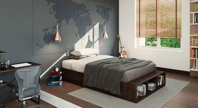 Toshi Teen Bed With Storage (Dark Walnut Finish, Yes) by Urban Ladder