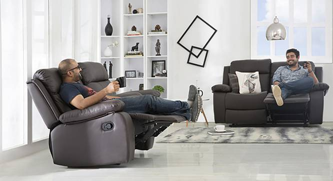 Robert Two Seater Recliner Sofa (Chocolate Brown Leatherette, Yes) by Urban Ladder