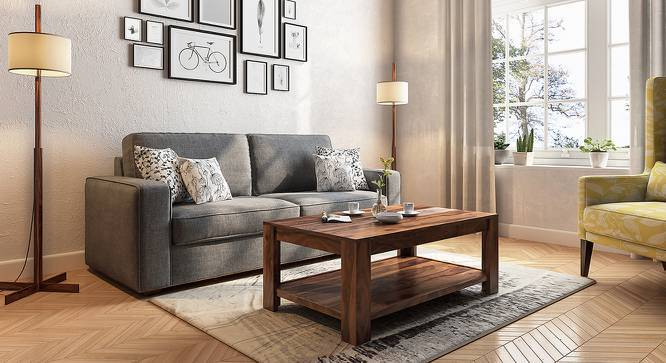 Striado Coffee Table (Teak Finish, With Shelves Configuration, Yes) by Urban Ladder