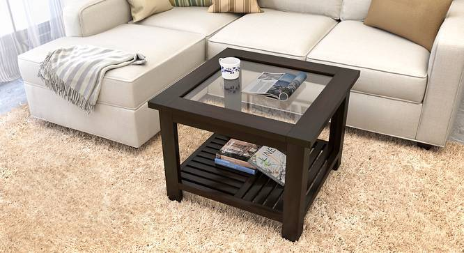 Claire Coffee Table (Mahogany Finish, Compact Size, Yes) by Urban Ladder