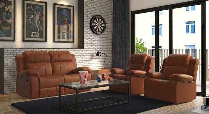 Robert Two Seater Recliner Sofa (Tan Leatherette, Yes) by Urban Ladder