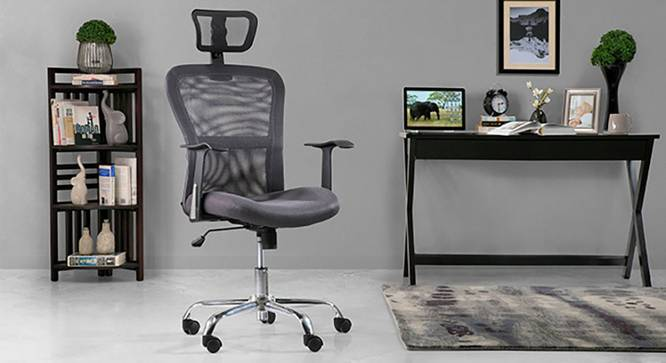 Venturi Study Chair-3 Axis Adjustable (Ash Grey, Yes) by Urban Ladder