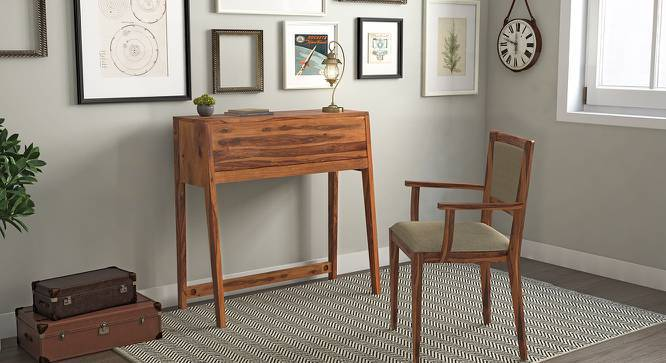 Rowling Compact Desk (Teak Finish, Yes) by Urban Ladder