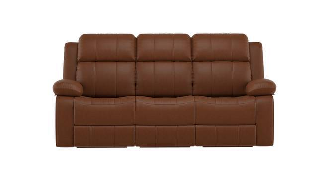 Robert Three Seater Recliner Sofa (Tan Leatherette, Yes) by Urban Ladder