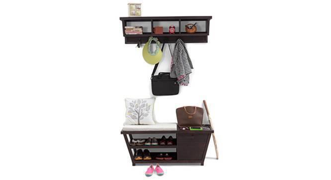 Striado Coat Rack and Shelf (Mahogany Finish, Yes) by Urban Ladder
