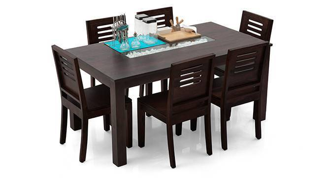 Brighton Large - Capra 6 Seater Dining Table Set (Mahogany Finish, Yes) by Urban Ladder