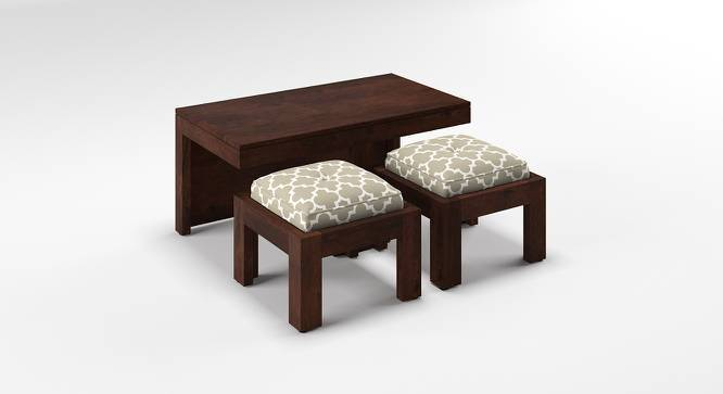 Kivaha 2-Seater Coffee Table Set (Walnut Finish, Morocco Lattice Beige, Yes) by Urban Ladder