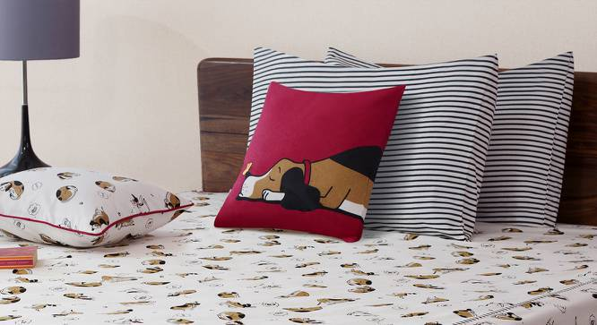 """Snoozy Pet Cushion Cover - Set Of 2 (16"""" X 16"""" Cushion Size, Doggie Bliss Pattern) by Urban Ladder"""