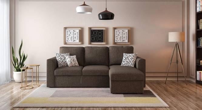 Kowloon Sectional Sofa Cum Bed with Storage (Sand Brown) by Urban Ladder