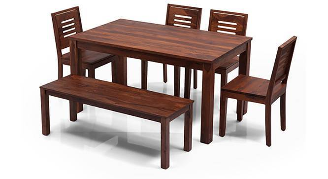 Arabia XL Capra 6 Seater Dining Sets(With Bench) (Teak Finish) by Urban Ladder