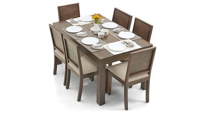 Arabia - Oribi 6 Seater Dining Table Set (Teak Finish, Wheat Brown) by Urban Ladder