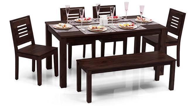Brighton Large - Capra 6 Seater Dining Table Set (With Bench) (Mahogany Finish) by Urban Ladder