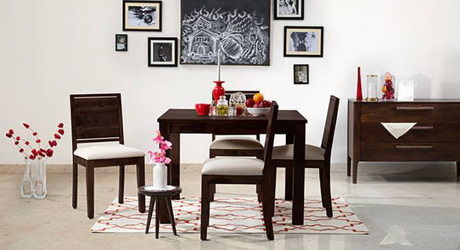Brighton Square - Oribi 4 Seater Dining Table Set (Mahogany Finish, Wheat Brown) by Urban Ladder